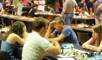 Una partida de l'Open d'escacs