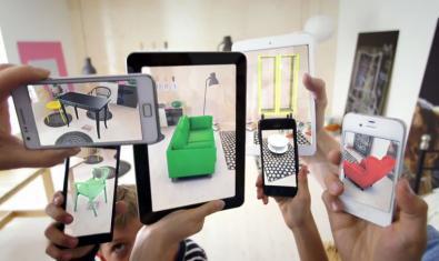 Imatge d'uns quants mòbils augmentant la realitat