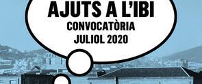 """Cartel de la convocatoria con la frase """"Ayudas al IBI. Convocatoria julio 2020"""""""