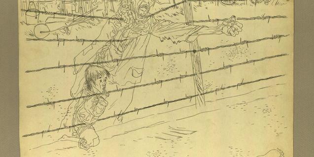 'Adiós papá', de Josep Bartolí, tinta sobre cartolina 1939-44 AHCB3-235/5D.19, 24938