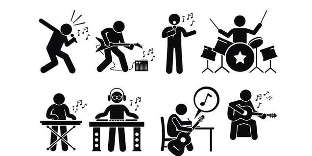 Un seguit de pictogrames mostren persones tocant instruments de tota mena
