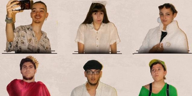 Retratos de medio cuerpo de seis de los actores y actrices que forman parte del reparto