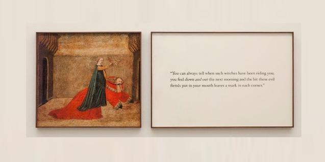 Una de les peces de l'exposició mostra una antiga imatge amb una dona cavalcant dalt d'un home