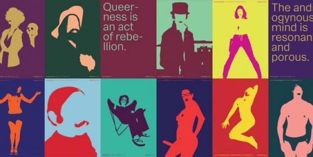 Un collage de la exposició amb imatges relatives a la construcció del gènere