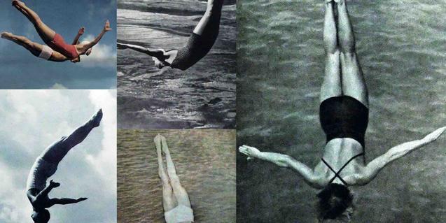 Un collage de imágenes de personas sumergiéndose en el agua