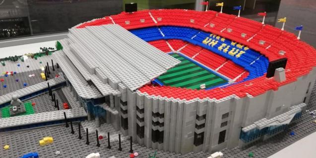 La maqueta del Camp Nou, un altre dels atractius de la mostra.