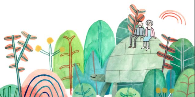 Il·lustració del cartell de l'espectacle, un senyor i una senyora damunt d'una tortuga