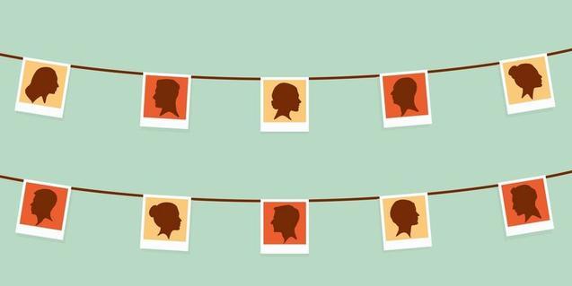 El dibuix d'un seguit de fotografies penjades d'unes cordes d'estendre serveix de cartell per anunciar el muntatge