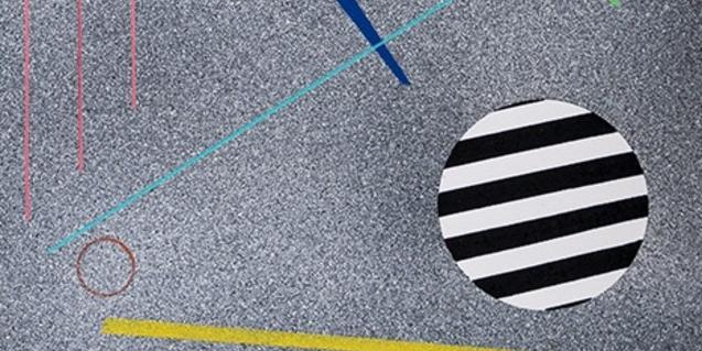 Una de les obres de l'artista amb colors i figures geomètriques que al·ludeixen a l'asfalt de la ciutat