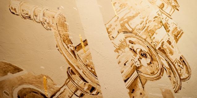 Un aspecto del mural del artista Mateo Fumero con alusiones a la ciencia
