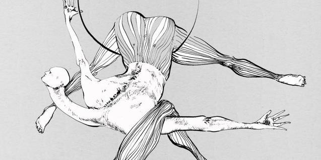 El dibujo de dos trapecistas sirve de cartel a la edición de este año del Combinat de circ