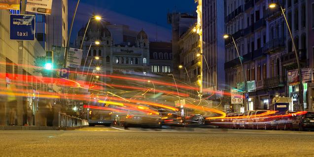 Imatge del carrer Pelai de nit