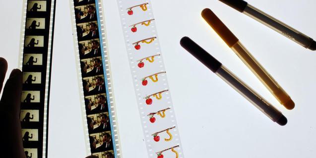 Fotografia de los negativos de algunos cortos