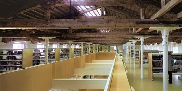 Interior of the Biblioteca Vapor Vell in Sants-Montjuïc