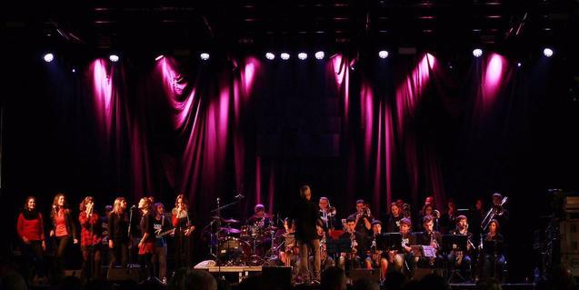 Una veintena de músicos de la formación en el escenario durante una actuación