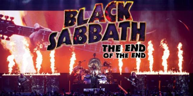 El cartel del film muestra una gran guitarra de fondo y en primer plano una actuación de la banda Black Sabbath