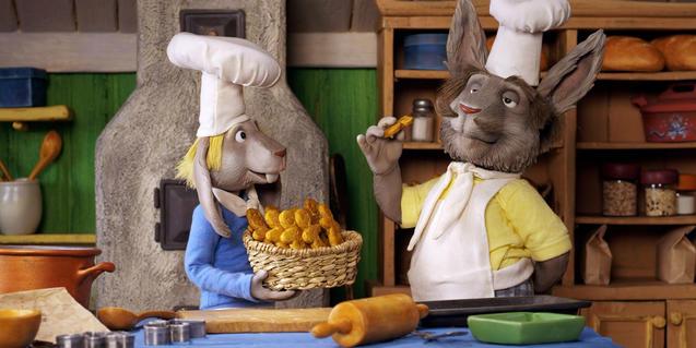 Fotograma de la película, dos conejos pasteleros