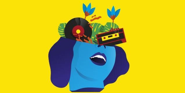 La imagen de una mujer con vinilos y cassettes que le salen de la cabeza en el cartel que anuncia el concurso