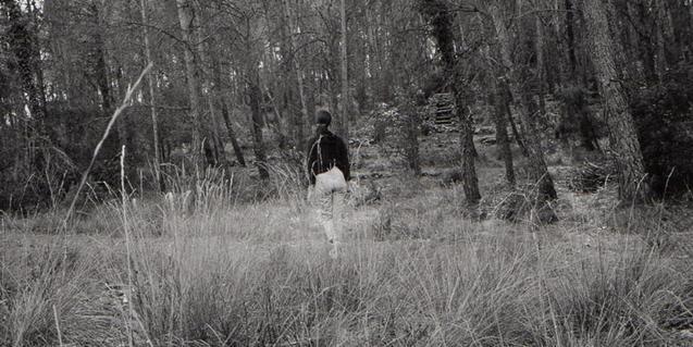 Fotografía en blanco y negro de una chica de espaldas en un bosque