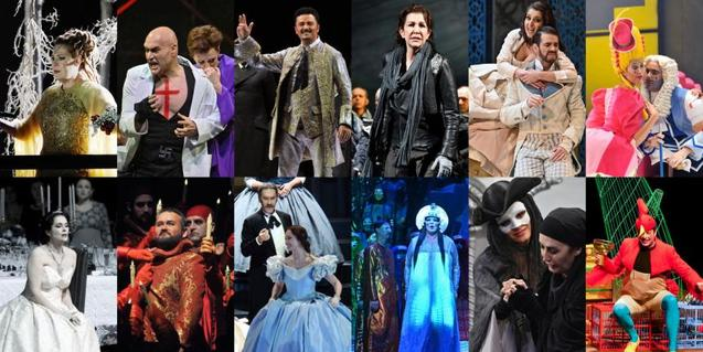 A collage of different operas that can be watched online thanks to the #TheLiceuAtHome initiative