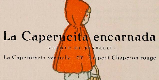 Detall de la coberta del conte de la Caputxeta il·lustrat per Torné Esquius.