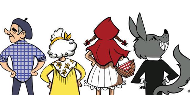 Ilustración de los personajes del cuento de espaldas