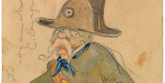Caricatura d'un guàrdia forestal de Carles Casagemas