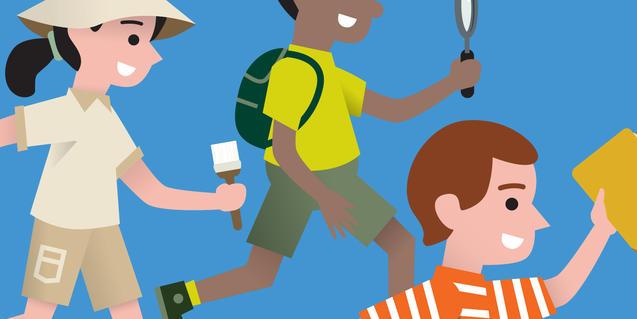 Il·lustració de tres nens fent d'exploradors