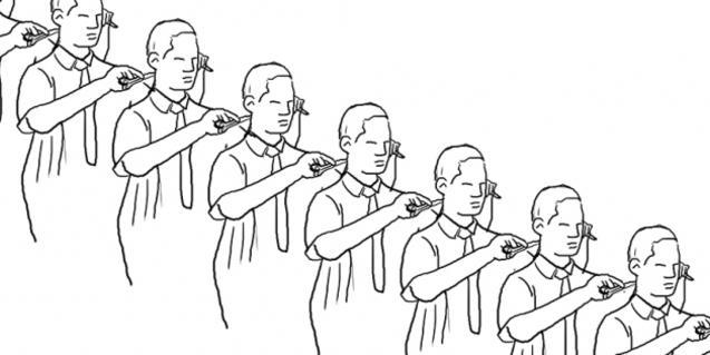 Un dibuix que mostra una filera de perruquers tallant-se el cabell