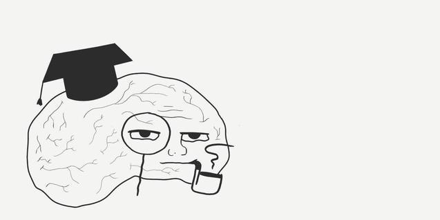 El dibuix d'un cervell amb barret d'universitari, ulleres i fumant en pipa serveix per anunciar l'espectacle