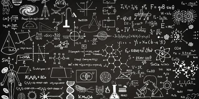 Una pizarra llena de iconos relacionados con la ciencia