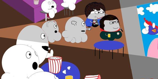 Un dibuix mostra amb ninots l'ambient de les sessions amb el públic rient i menjant crispetes