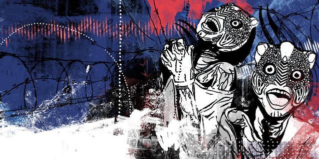 El cartell de la mostra inclou un dibuix amb dos individus amb màscares al costat d'una tanca de filferro amb punxes