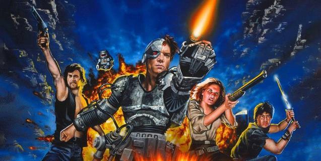 Cartell d'un dels films que es projecten que mostra els quatre protagonistes disparant les seves armes