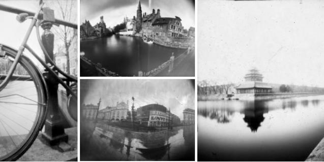 Un collage hecho con fotografías estenopeicas de diversas ciudades