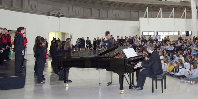 Un momento del concierto de Navidad del año pasado protagonizado por las formaciones más jóvenes del Orfeó Català