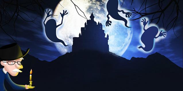 Scrooge, rodeado por sus fantasmas.