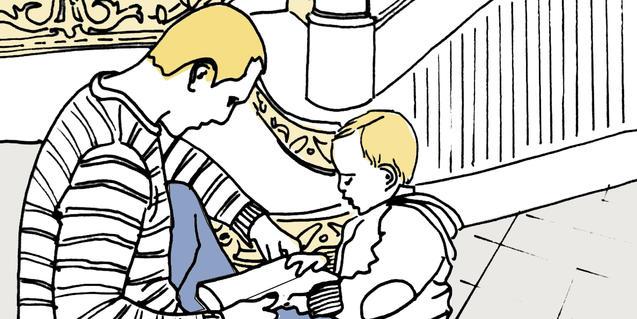 Il·lustració del cartell, pare i fill mirant un conte