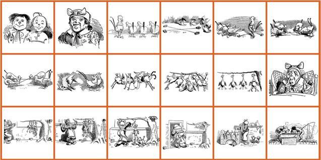 Una tria de dibuixos antics amb escenes d'oficis i de la vida quotidiana il·lustren els contes