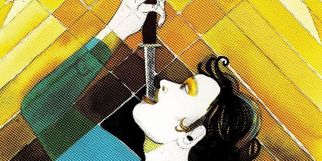 Un detall del cartell que anuncia el concert i que mostra a una dona menjant-se un sabre