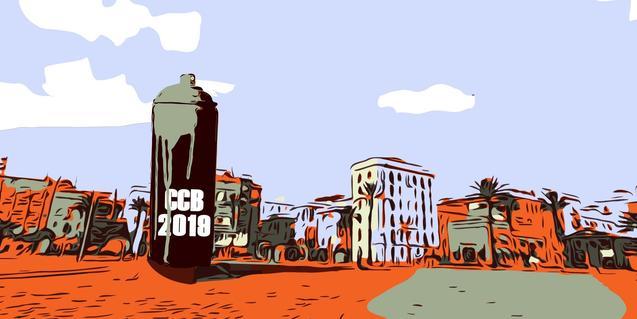 El cartell de l'exposició mostra un paisatge de la Barceloneta amb un gran esprai de pintura en primer terme