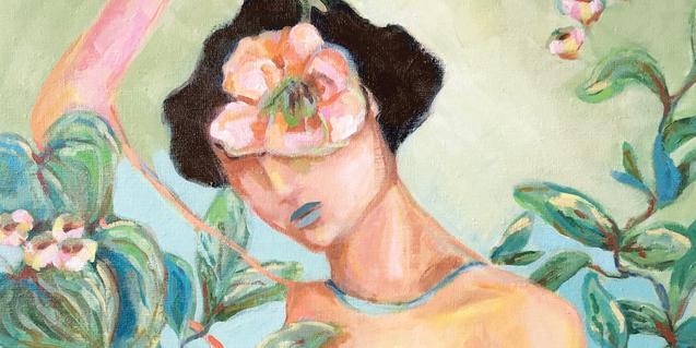 Una dona amb una gran flor al cap retratada en una de les obres de l'artista