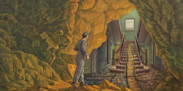'El descubrimiento del espeleólogo', de Juan Antonio Mañas, una de les obres de l'exposició