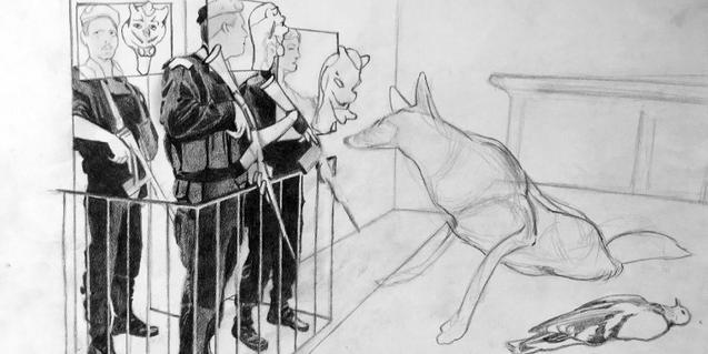 Uno de los dibujos de Dionís Escorsa de la serie 'El balcón inverso'