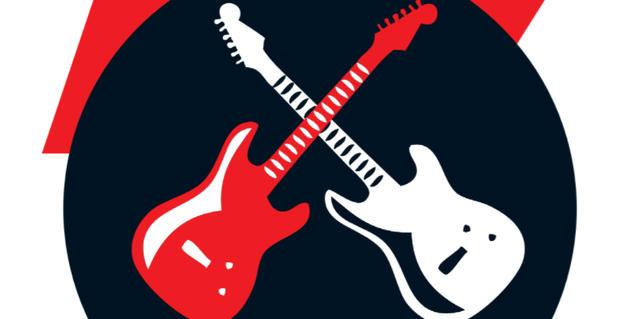El dibuix de dues guitarres creuades una de blanca i una de vermella serveix d'imatge per al concurs