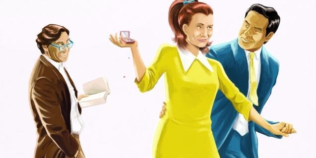 Un dibujo con estética de los 60 muestra a una pareja y un amigo que les acompaña
