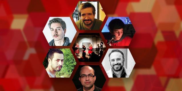 Collage con los retratos de los escritores que participan en el ciclo