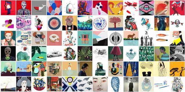 Collage formado por decenas de obras que se pueden ver en la exposición