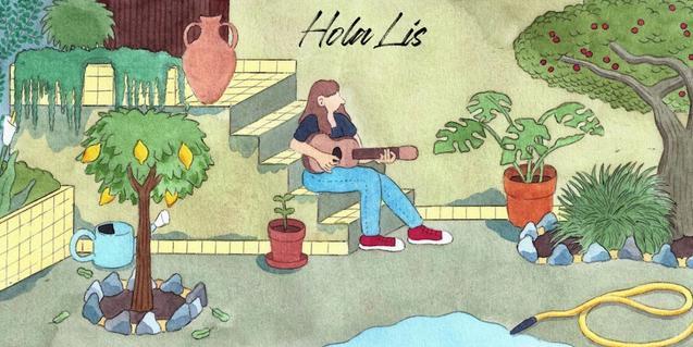 Un dibuix de Conxita Herrero mostra l'artista tocant la guitarra i cantant en un jardí interior envoltada d'arbres i vegetació