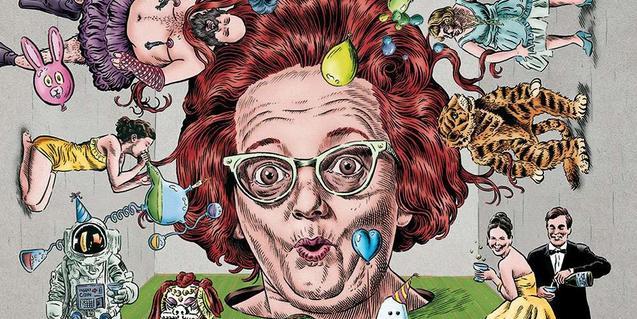 Cartell de Miguel Brevia que mostra el dibuix d'un cap de dona envoltat de personatges extravagants